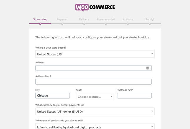 After redirecting to WooCommerce, complete the simple install wizard